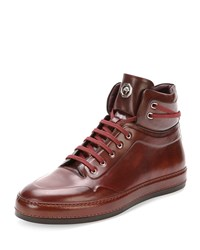 Leather High Top Sneaker Burgundy Stefano Ricci Red