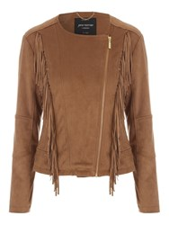 Jane Norman Tan Faux Suede Fringed Jacket
