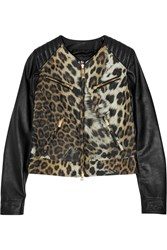 Just Cavalli Leopard Print Leather Jacket Black
