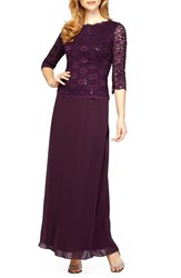 Alex Evenings Women's Sequin Lace And Chiffon Gown
