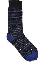 Barneys New York Men's Geometric Pattern Mid Calf Socks Black