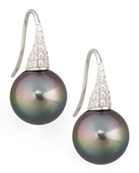Gray South Sea Pearl And Diamond Drop Earrings 0.44Ct Eli Jewels Blue