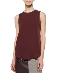 Theory Bringam Sleeveless Silk Top Cassis