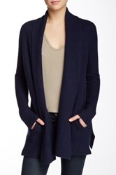 Ply Cashmere Long Sleeve Shawl Cashmere Cardigan Blue