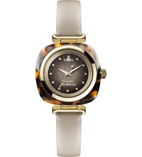 Vivienne Westwood Vv141bg Time Machine Stainless Steel And Leather Watch Multi Coloured