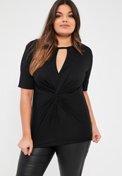 Missguided Plus Size Black Knot Front T Shirt