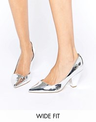 Asos Sapphire Wide Fit Pointed Heels Silver