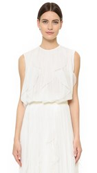 J. Mendel Round Neck Top Ivoire