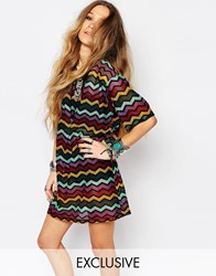 Reclaimed Vintage Sheer Longline T Shirt Dress With Chevron Pattern Multi