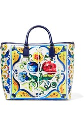 Dolce And Gabbana Beatrice Printed Textured Leather Tote Blue
