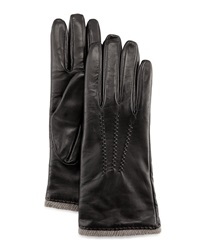 Grandoe Seamed Leather Gloves Black