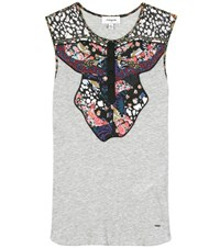Coach Western Yoke Cotton Blend Tank Top With Applique Grey
