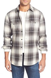 Men's Wallin And Bros. Trim Fit Flannel Shirt Grey Phantom Black Plaid