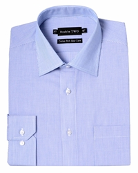 Double Two Stripe Classic Fit Classic Collar Formal Shirt Blue