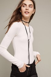 Anthropologie Ribbed Layering Tee White