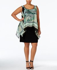 Sl Fashions Plus Size Printed High Low Popover Dress Green Multi