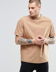 Asos Short Sleeve Military Shirts With Sleeve Pocket In Camel Camel Tan