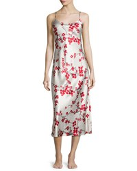 Natori Cherry Blossom Long Satin Gown Black Warm White