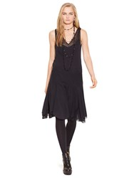 Polo Ralph Lauren Sheer Crepe V Neck Dress Polo Black