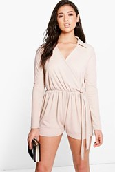 Boohoo Shirt Style Wrap Front Playsuit Stone