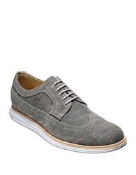 Cole Haan Lunargrand Canvas Long Wing Oxfords Grey
