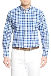 Tailorbyrd 'Chestnut' Regular Fit Check Sport Shirt Big And Tall Blue