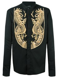 Balmain Embroidered Concealed Fastening Shirt Black