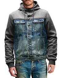 Cult Of Individuality Mixed Media Jacket Blue