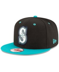 New Era Seattle Mariners Beveled Rubber Logo 9Fifty Snapback Cap Black Teal