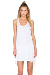 Bobi Slubbed Jersey Scoop Neck Fringe Tank Dress White
