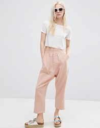 Asos Washed Casual Straight Leg Trousers Blush Pink