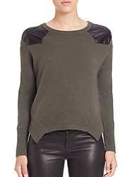 Generation Love Cashmere Leather Detail Sweater Army Green