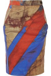 Vivienne Westwood Anglomania Printed Stretch Cotton Pencil Skirt Claret