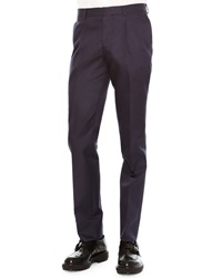 Valentino Slim Fit Wool Silk Trousers Navy
