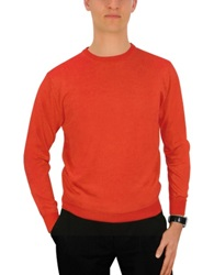 Forzieri Men's Coral Red Cashmere Crewneck Sweater