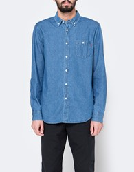 Obey Keble Woven Ls Light Blue
