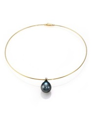 Mizuki Sea Of Beauty 15Mm 20Mm Black Tahitian Pearl Diamond And 14K Yellow Gold Collar Necklace Gold Green