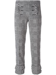 Rossella Jardini Glen Plaid Cropped Trousers Black