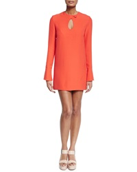 Derek Lam Long Sleeve Cady Mini Dress Safety Orange
