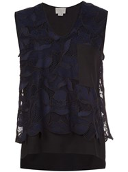 Grey Jason Wu Floral Layered Tank Top Blue