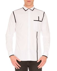 Givenchy Woven Shirt W Contrast Piping White Black