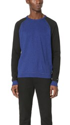 Rag And Bone Standard Issue Colorblock Raglan Long Sleeve Tee Bright Blue