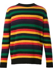 The Elder Statesman Crew Neck Stripe Jumper Black