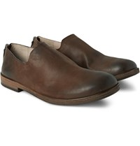 Marsell Washed Leather Loafers Brown