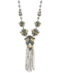 Lonna And Lilly Gold Tone Beaded Tassel Necklace Blue