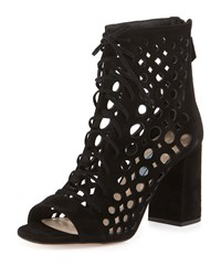 Prada Lattice Caged Leather Sandal Black