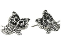 Marc Jacobs Charms Owl Studs Earrings Jet Multi Antique Silver Earring