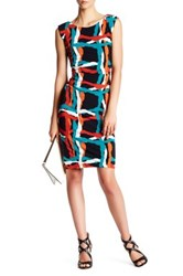 Nine West Shirred Waist Cap Sleeve Jersey Dress Multi