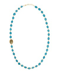 Bettina Duncan Long 14K Gold Filled Turquoise Labradorite And Diamond Station Necklace