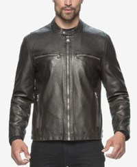 Marc New York Moto Style Leather Jacket Brown